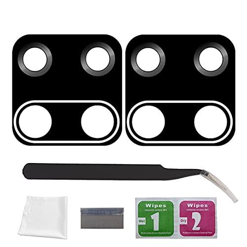 Eonpam 2 paquetes Reemplazo Cristal Lente Vidrio Cámara Trasero para (Xiaomi Redmi Note 9) Calidad Original,Con kit de reparación profesional