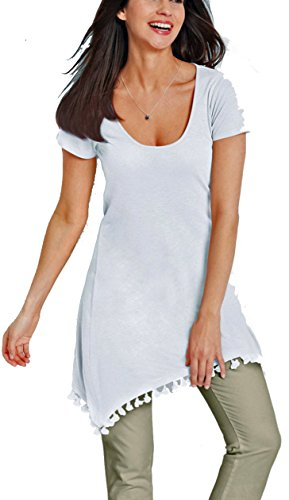 Versandhausware Tunika Zipfelshirt mit Leinen weiß 970026 (44/46)