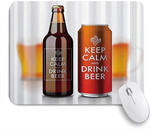 Benutzerdefiniertes Büro Mauspad,Flasche und Dose mit Etikett ruhig halten und Bier trinken Coole Erfrischungen trinken,Anti-slip Rubber Base Gaming Mouse Pad Mat