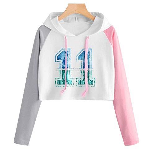 Sudaderas Adolescentes Chicas Sudaderas Cortas Niña Tumblr con Capucha Estampado Hoodie Raglán Camisetas Letras Mujer Tops Camiseta de Manga Larga(Rosado,XL)