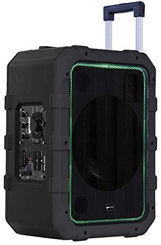 Gemini MPA-2400 25,4 cm wiederaufladbarer, wetterbeständiger Trolley-Lautsprecher mit Bluetooth, LED-Lichtanzeige, 6 DSP-Modi, Mikrofon- und Gitarreneingänge, 240 W Spitzenleistung, FM-Radio grau