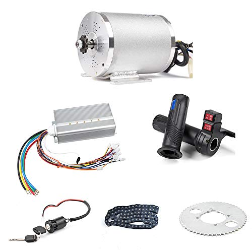 BLDC 72V 3000W Brushless Motor Kit with 24 Mosfet 50A Controller and Throttle for Electric Scooter E Bike Engine Motorcycle DIY Part Conversion Kit (6 Part in 1 and Motor with Foot)