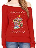 Spongebob - Gary The Snail Ugly Christmas Sweater Off Shoulder Sweatshirt Large Red