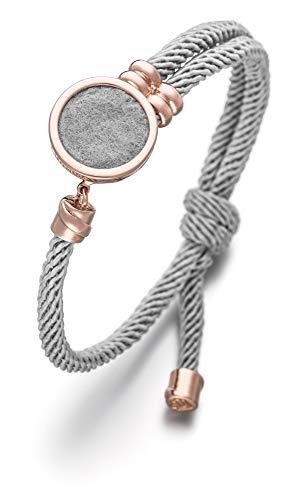 Lunavit Damen Schmuck Armband aus Nylon, Duftarmband mit stylischem Schmuckelement aus Messing mit Filzeinlage für Parfüm, Aromaarmband, Grau Rosé