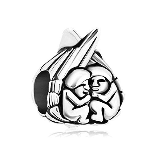 Pugster - Abalorio para pulsera Pandora, diseño de corazón con dos ángeles de bebé, estilo vintage, compatible con pulseras Pandora