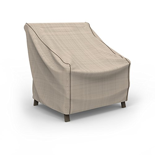 Budge P1W01PM1 English Garden Patio Chair Cover Heavy Duty and Waterproof, Medium, Tan Tweed