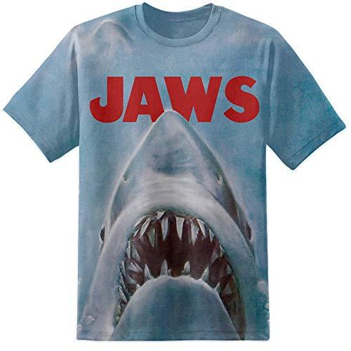 Dpx-1,T-Shirt für Damen und Herrren, Film-Poster-Druck, Jaws, S - XXL, Retro-Film-T-Shirt Gr. Large, weiß