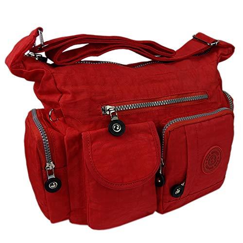 ekavale Leichte hochwertige Damen-Handtasche Umhängetasche aus wasserabwesendem Crinkle Nylon (Rot)