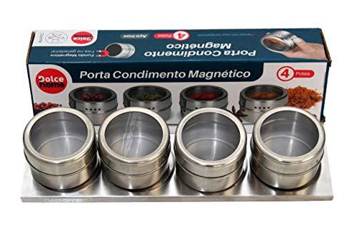 4 Porta Condimentos Magnético de 50 ml cada, Suporte 28x7cm, Tampa com Visor Transparente, Dolce Home