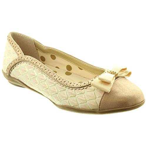 Ruby Shoo Lizzie Gold & Light Pink Flat Slip On Shoes UK 6