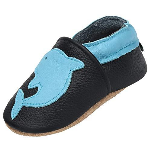 Unisex Bebé Zapatos de Cuero Suave Antideslizante Niñas Primeros Pasos Zapatillas Antideslizante Elásticos Zapatos de Bebé Cómodos, Delfín Negro 0-6 Meses