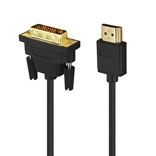 HUANGTAOLI Cavo HDMI su DVI 1m, HDTV HDMI su DVI Cavo (24+1 Dual Link) Bi-Direzionale Support 1080p DVI-Equipped Monitor or TV