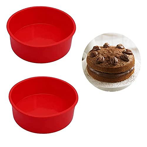 Silikon Kuchenform Runde Backform, BPA-frei Antihaft-Backformen Pfanne für Kuchen und Brote (15.5cm+15.5cm)