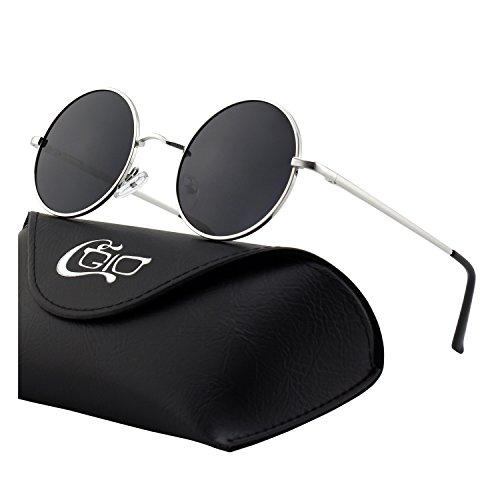 CGID Kleine Retro Vintage Sonnenbrille, inspiriert von John Lennon, polarisiert mit rundem Metallrahmen, für Frauen und Männer Silber Grau E01