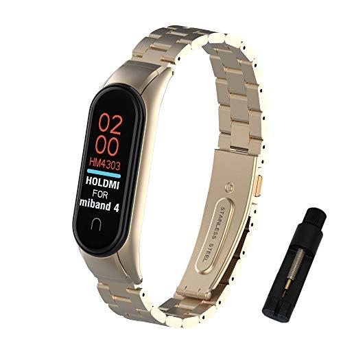 Kcdream für Xiaomi Mi Band 4 Mi Band 3 Armband,Edelstahl Replacement Wrist Strap Erweiterbar Uhrenarmband Metall Schlankes Handgelenk Ersatzarmbander Ersatzband für Xiaomi Mi Band 4/3