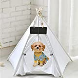 GeerDuo Pet Teepee, Portable Pet Tents for Small Dogs or Cats, Puppy Sweet Bed Washable Dog or Cat Houses with Cushion (White)