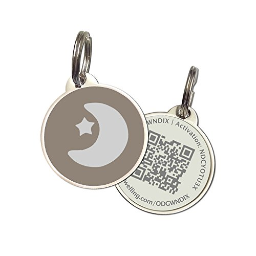 PetDwelling Advanced Gray Moon Star Friend QR Code Pet ID Tag Links to Online Profile/Emergency Contact/Medical Info/Google Map Location Stamp