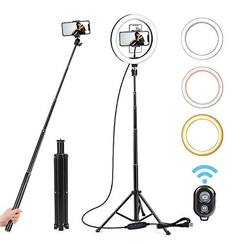Anillo de luz de 10 pulgadas 26cm Ronda luz de relleno, 130cm selfie Palo Rojo Vivo neto de belleza Luz, USB regulable LED con el trípode, conveniente para el maquillaje, la cámara, la belleza,Negro