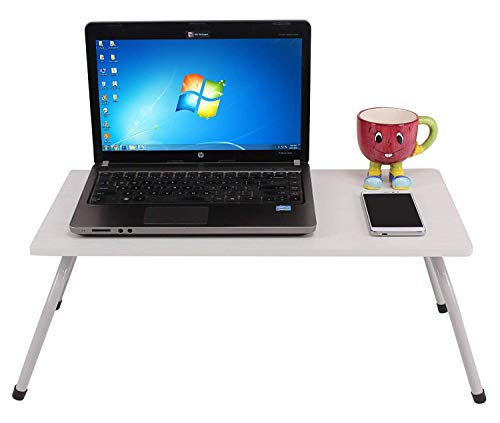 Bed Table Study Table Multipurpose Laptop/Bed Table with Non-Skid Foldable Legs/Study Table/Bed Table/Foldable and Portable/Ergonomic & Rounded Edges/Non-Slip Legs (White)