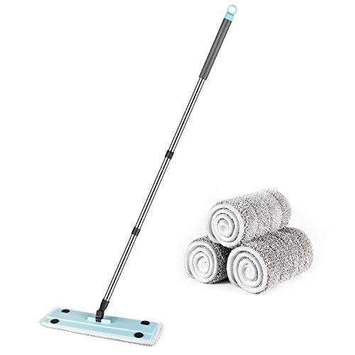 MOOSOO Microfiber Dust Mop with 3 Washable Pads 270º Rotation Flat Floor Mop for Home/Office Hardwood Tile Floor Cleaning MP32
