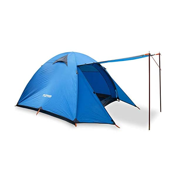 FLYTOP-Double-Laye-3-4Season-3-4-Person-Camping-Tent-Windproof-Backpacking-Tents-for-Motorcycle-Camping-Hiking-Mountain-Bicycle-Hunting-Backpacking-Tents3-Person-Blue-