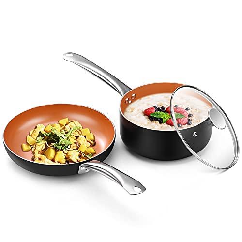 "Copper Nonstick 10.5"" Frying Pan and 3QT Saucepan Set Now $28 (Was $79.99)"
