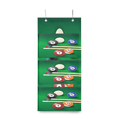 iRoad faltbare Aufbewahrungstasche mit Snooker-Aufdruck, zum Aufhängen, mit 4 Taschen, Aufbewahrungstasche für Küche, Schlafzimmer, Kinderzimmer