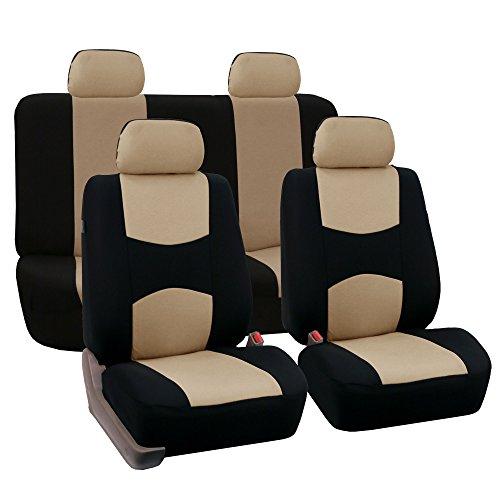 FH Group FB050114 Flat Cloth Seat Covers (Beige) Full Set with Gift – Universal Fit for Cars Trucks & SUVs