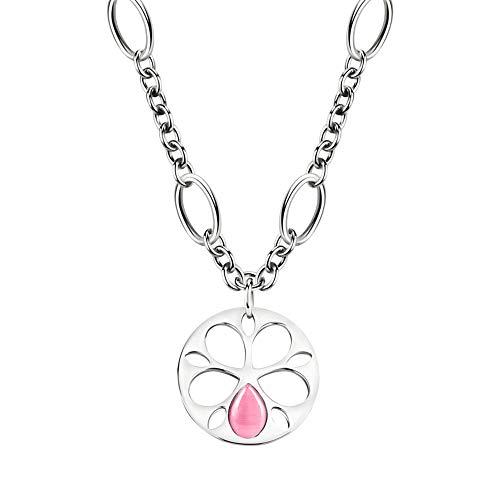 SATE07 Morellato catena pendente 40 cm. raccolta Fiore in acciaio inox occhio di gatto rosa donna