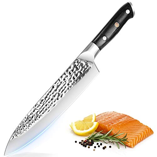 Chef Knife 8inch Kitchen Knife Sharp Cooking Knife High Carbon Steel Chopping Knife with Sheath Pro Chef Knife for Meat and Vegetable with G10 Full Tang Handle