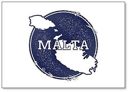 Malta Kaart. Grunge Rubber Stempel met de naam en kaart van Island Koelkast Magneet