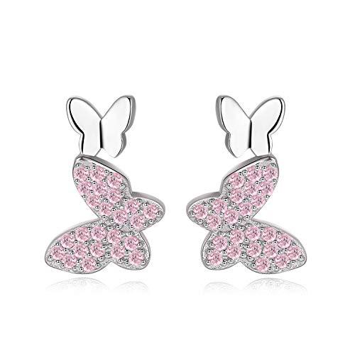Qings Schmetterlings Ohrstecker 925 Sterling Silber - Rosa Schmetterlings Ohrringe für Mädchen, Schmuckgeschenke für Frauen