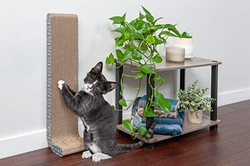 Furhaven Katzenmöbel | Wellpappe Kratzbaum für Katzen und Kätzchen – erhältlich in verschiedenen Ausführungen, Kratzer, Wand-Halterung , Standard, Grau mit Weiß