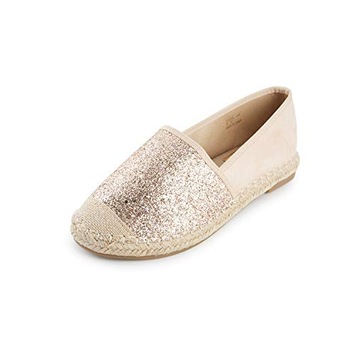 Kentti Gesloten Teen Pailletten Canvas Slip On Plat Espadrilles Dames