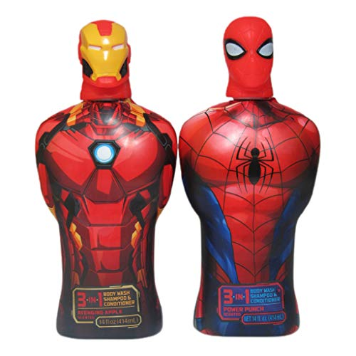 Spider-Man and Iron Man 3-in-1 Body Wash, Shampoo & Conditioner Power Punch, Avenging Apple14 fl oz