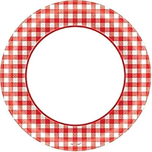 Amscan Picnic Gingham Party Round Plates, 6.75, 40 Ct.