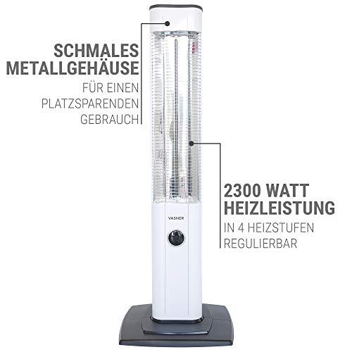 VASNER StandLine 25R Infrarot Stand-Heizstrahler – weiß – 2500 Watt, Terrassenstrahler elektrisch - 6
