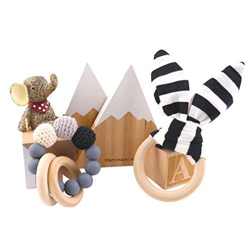 Mamimami Home Baby Silikon Beißring Holz Beißring Mit Silikon Kautabletten DIY Armband Montessori Spielzeug Baby Pflege Zubehör (Grau)