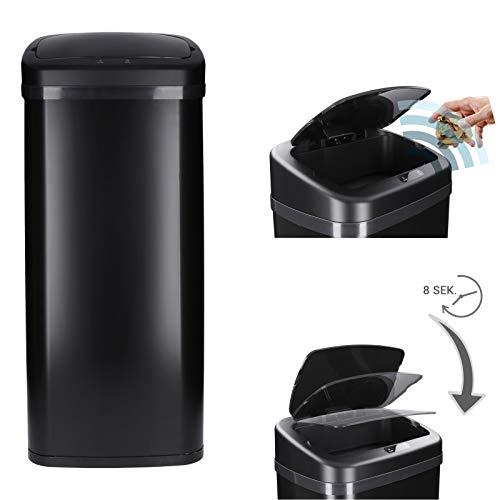 Poubelle à capteur automatique en acier inoxydable laqué | ouverture/fermeture automatiques, 30-50 Litre (Noir - 30 litres)