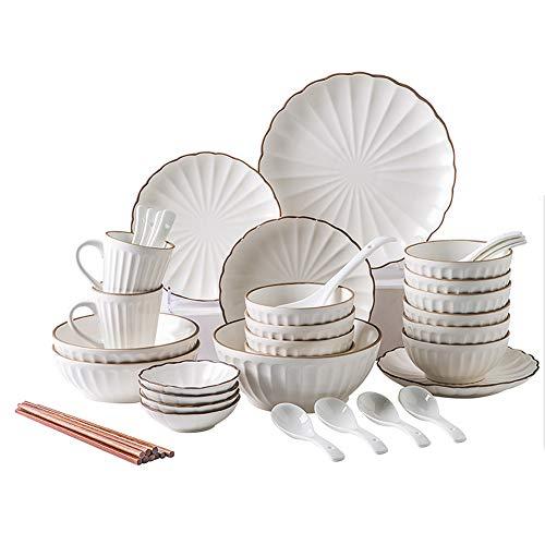 XLNB Juego De Vajilla De Porcelana con Forma De Pétalo Blanco, Platos Y Tazones De Cerámica En Relieve Creativos, Microondas, Apto para Lavavajillas,45 pcs White