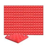 12ピースセット250 x 250 x 50 mm ピラミッド 吸音材 防音 吸音材質ポリウレタン SD1034 (赤)