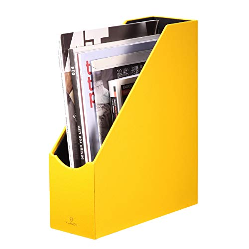 VPACK Magazine File Holder Organizer -PU Leather Office Desk Organizer Collection for Files, Magazines, Books, Papers, Letters and Other documents (Yellow-PU)