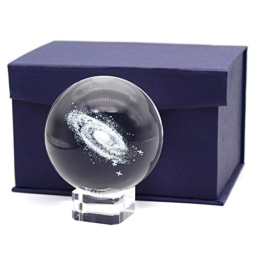 Omitfu 3 Inch/80MM Galaxy Ball Crystal Display Globe Full Sphere Glass Paperweight Fengshui with Clear Stand (Gifted Box Package)