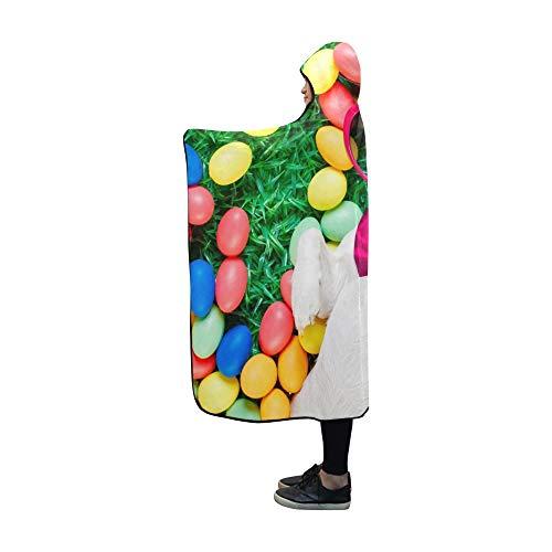 JOCHUAN Couverture à Capuche drôle Jack Russell Couverture de Chien de Lapin de Pâques 60x50 Pouces Wrap à Capuche Comfotable