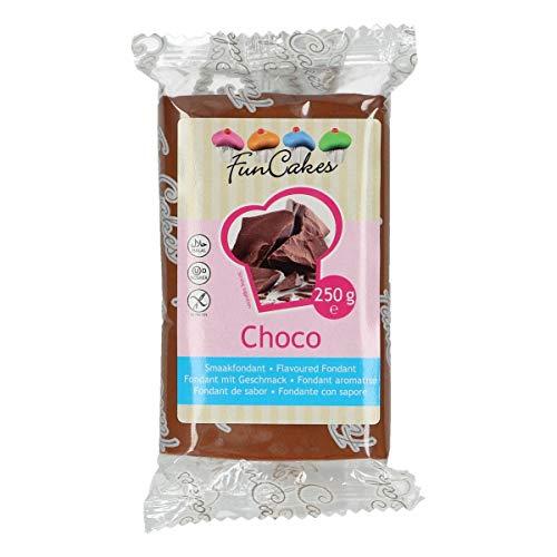 Funcakes Pasta de Azúcar - Fondant para Tartas, Galletas, Cupcakes o Modelar - Sabor Choco - 250 gr - Color Chocolate