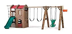 Backyard Wooden Swing Set with Glider