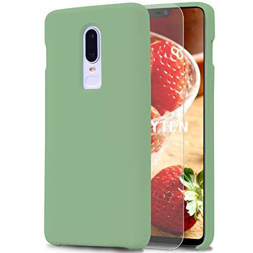 Feyten Funda OnePlus 6T [Cristal Vidrio Templado], Slim Líquido de Silicona Gel Carcasa Anti-Rasguño Protectora Caso para OnePlus 6T (Verde Claro)