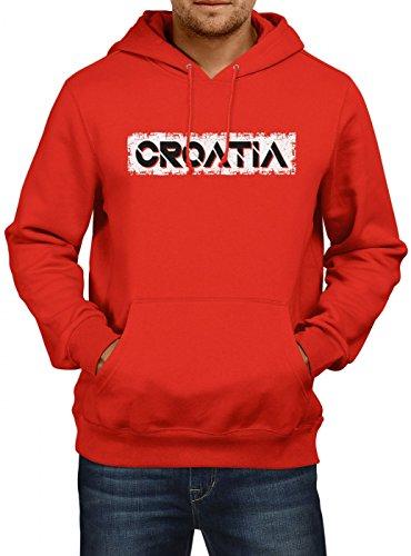 Shirt Happenz Kroatien Weltmeisterschaft 2018#29 Premium Hoodie Fan Trikot Fußball WM Nationalmannschaft Herren Kapuzenpullover, Farbe:Rot;Größe:XXL
