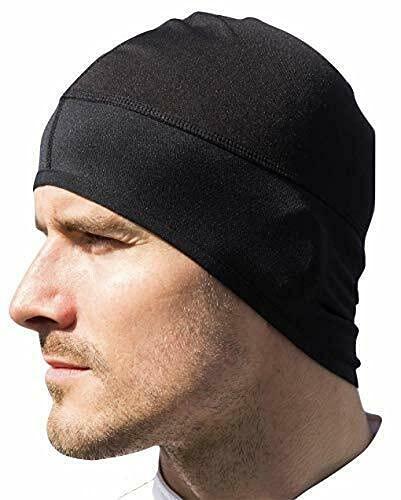 Gorro ajustado y extensible para debajo del casco, antiviento, antisudor, ideal para ciclismo, moto o carreras con impresión trasera reflectante