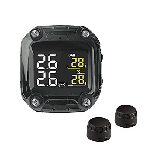 Runfon Sistema de detección de Calibre de presión de neumático de Motocicleta Pantalla LCD Digital inalámbrica portátil TPMS
